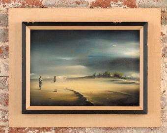Robert Watson - Surreal Figure in desert Landscape-Original Oil Painting -1958