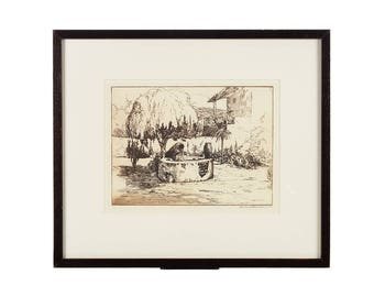 Edward Borein -Wishing Well - Original pencil Signed Etching