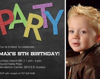 "Glittery Party Birthday Invitation 5""x7"" Custom Digital Card"