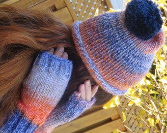 Set Hand Knitted Hat  & Fingerless Gloves. Suitable Women or Men,  for Teenagers. Size small. READY to SHIP!