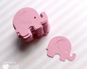Pink Mini Elephant shapes. Elephant confetti in pink. Elephant baby shower, birthday, scrapbooking, DIY craft, decorations.