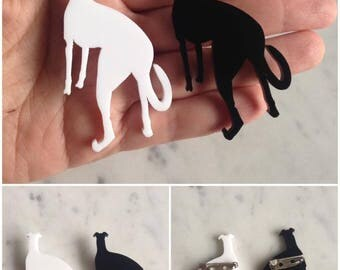 Greyhound Whippet Acrylic Brooch