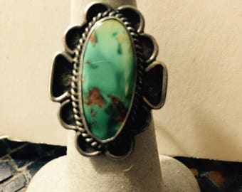 Vntg Southwest TURQUOISE STERLING Silver Ring Sz 7.5