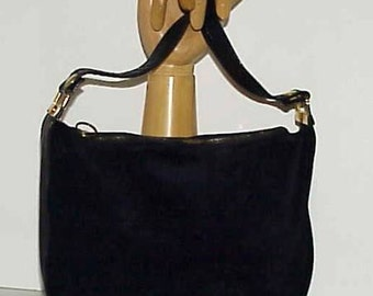 Lovely Italian Made Handbag Black Suede with Textured Leather Trim