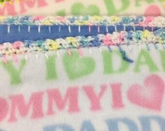 Crochet Edge Blanket, Double Fleece, I Love Mommy, I love Daddy Fleece, 36x36, #36D-16, 17