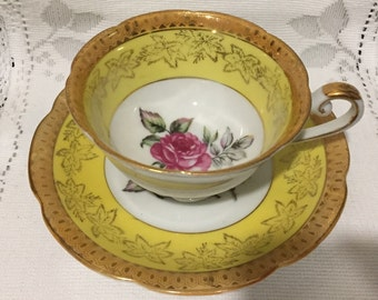 Vintage, footed CASTLE  Bone China Tea Cup & Saucer  - Japan