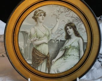 Vintage/ Antique Round Picture of Two Lovely Ladies, Shabby Chic,