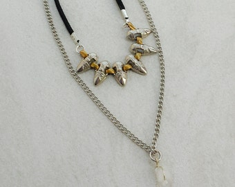Spiked Chain Choker, Quartz Crystal Tribal Necklace, Black Suede Boho  Chic Necklace, Multi Strand Festival Jewelry