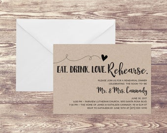 Rustic Rehearsal Dinner Invitation, Modern Rehearsal Dinner Invite, Eat Drink and Be Married Invitation, Future Mr & Mrs Invitation