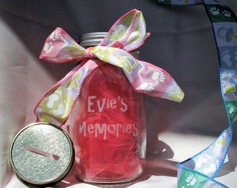 Baby Memory Jar  Keepsake  Piggy Bank  Personalized Name, Birth Date, Weight, Length  Great for Parents & Grandparents for New baby BabyBook