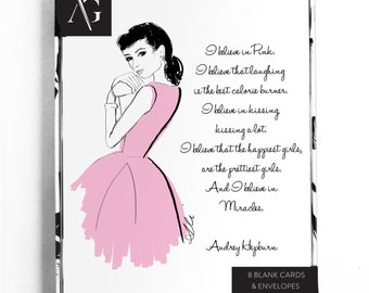 Pretty Lady Card Set  - Greeting Cards, Fashion Illustration, Thank You Card, Audrey, Just Because, Art Card