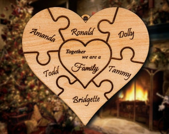 Personalized Wooden Heart Puzzle Design Christmas Ornament