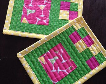 Happy hour quilted mug rugs