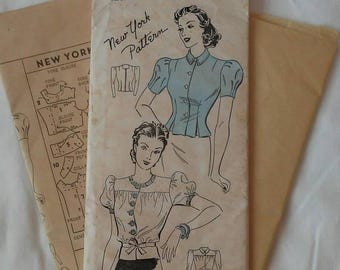 Early 1940s Factory Folded Fitted Peplum Blouse New York Pattern #1239 Puffed Sleeves Long Sleeves Size 38 Bust