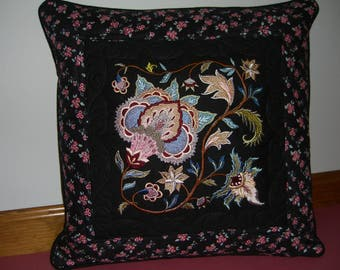 Jacobean Floral embroidered and quilted pillow