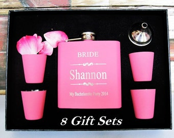 Set of Personalized Pink 8 Bridesmaid Gift Flask Box // Wedding Gift Box for Bride, Bridesmaids, Maid of Honor, Matron of Honor, and More