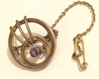 Scottish Victorian Gilded Amethyst Brooch With Safety Chain