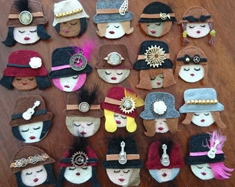 Steampunk Lady Brooches