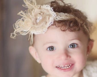 My favorite vintage hair-Newborn,girls headband-lace,pearls,feathers,photo prop,hair clip, couture girl