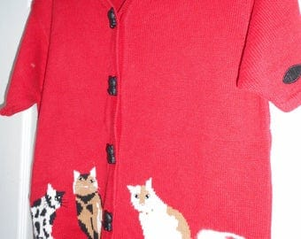 Tally Ho Red Cat Sweater Kitty Vintage Cardigan