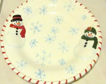 The Holiday Snowfolk Cookie Ceramic Christmas Plate Premiere Edition Collectible By Publix's'