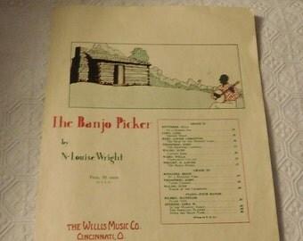 Black American The Banjo Picker Piano Sheet Music