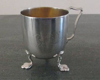 Antique Silver Plated Edwardian Christening Cup Baby 1910 Childs Cup Vintage Silver Christening Cup Vintage English Christening cup