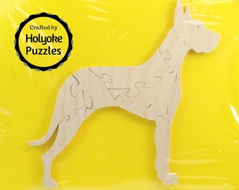 Great Dane Dog Wood Puzzle - Color Your Own Craft Puzzle - Kids Craft Project