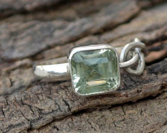 African Prasiolite Gemstone Ring -925 Sterling Silver Ring -Designer Knote Ring- Square Cut Prasiolite Ring- August Birthstone Gift Ring