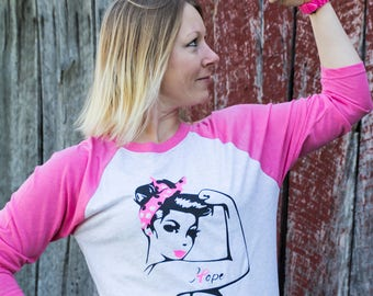 Rosie the Riveter, breast cancer awareness, hope, pink ribbon