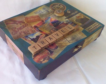Repurposed Cigar Box - Tribute to Travel