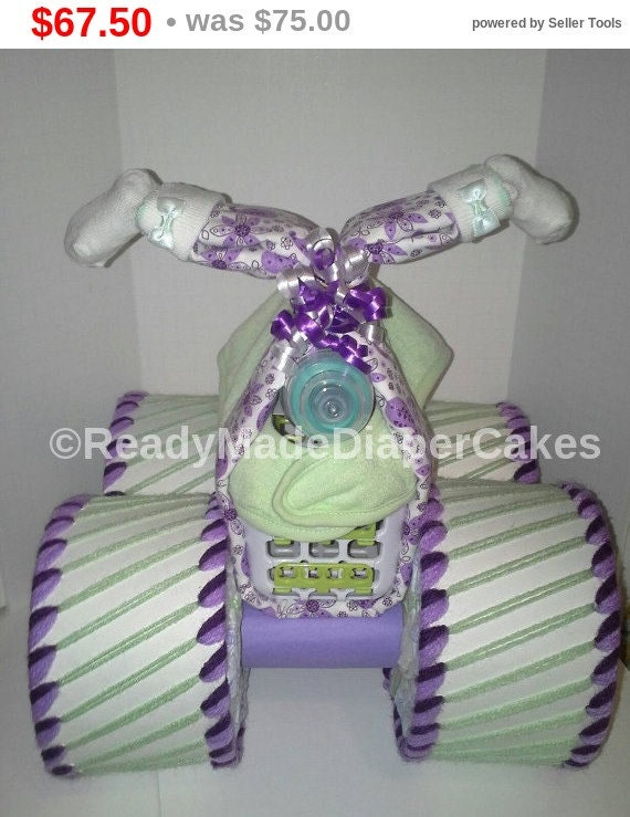 Readymadediapercakes Baby Girl Four Wheeler Diaper Cake Lilac