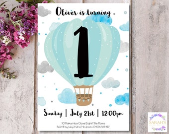 Custom Edited Boys First Birthday Invitation - Pdf or Jpg file - Hot Air Balloon and Clouds - 5 x 7 inch size