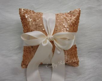 Large Gold Matte Sequins Wedding Ring Bearer Pillow, 8 x 8 Wedding ring pillow  READY TO SHIP