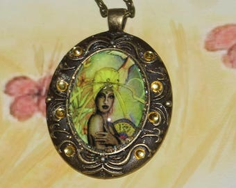 Ochun Osun Orisha photo pendant necklace