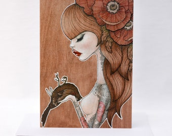 "Greeting card - reproduction of my original illustration ""Marianne"""