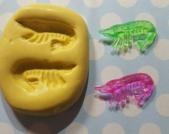 Tiny Shrimp Flexible Silicone Mold for polymer clay,  wax,  resin, etc. It is food safe.