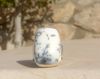 Dendritic Opal Silver Ring, Gemstone Silver Statement Ring, White Stone Ring, White Gemstone Silver Ring