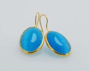 Pink Tiger Eyes Jewelry, Tiger Eyes Gemstone, 22k Gold Plated,  Sterling Silver Earrings