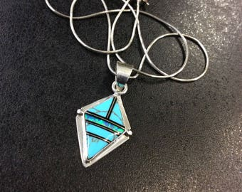 Silver turquoise with opal pendant on chain ,Navaho ,JW