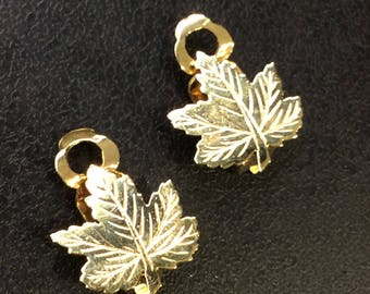 9ct gold clip on earrings ,leaf design