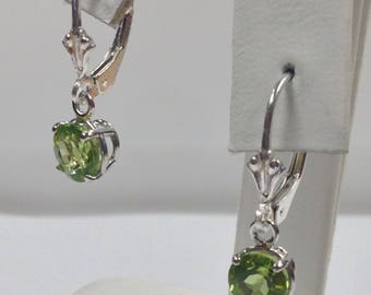Natural Peridot Dangle Earrings 925 Sterling Silver