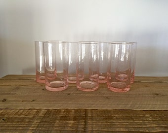 Set of 7 Pink Bubble Recycled Glass Tumblers