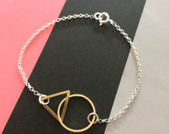 Geometric Loop Bracelet - Circle and Triangle Bracelet- Circle and Hexagon Bracelet- Geometric Linked Bracelet