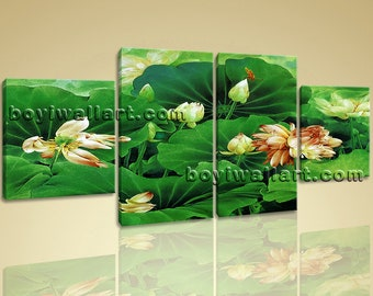 Large Water Lily Pond Print Abstract Wall Decor Dining Room 4 Panels, Large Water Lily Wall Art, Dining Room, San Felix
