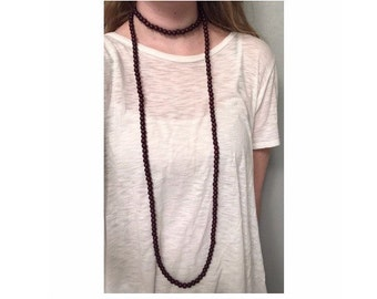 Extra Long Double Wrap Necklace Dark Brown