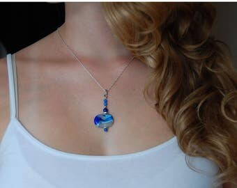 Lapis Blue Necklace Blue Beaded Pendant Lampwork Necklace Lapis Jewelry Gifts for Mom