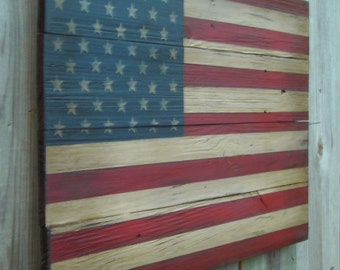 Rustic Wooden American Flag, 16 X 24 inches. Made from reclaimed wood.  E