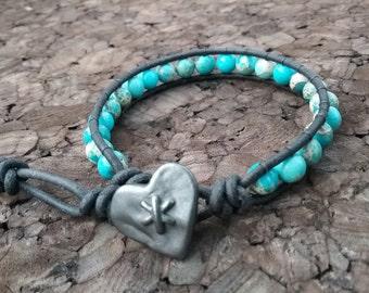 Turquoise Imperial Jasper Bracelet, Heart Leather Wrap Bracelet, Single Wrap