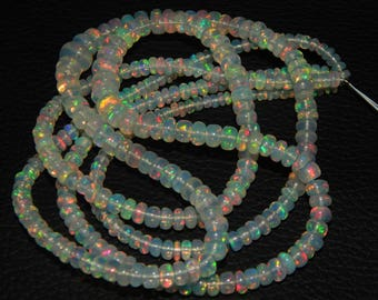 On Wholesale Price AAA Quality 78.70 carat Rainbow Fire Ethiopian Opal smooth Rondelle Beads 2 strand opal beads size 3-6 mm 16 inch long